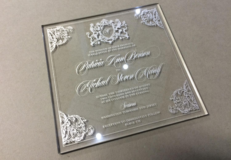 Wedding Invitations Metallic Silver Screen Print